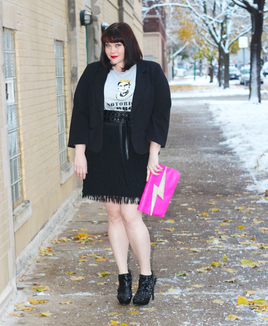 Plus Size Blogger Amber from Style Plus Curves in a Notorious RBG Tshirt