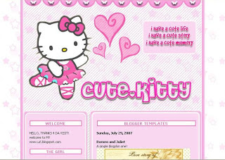 Cute Hello Kity Template Blog