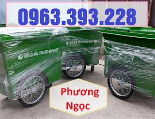 Xe gom rác nhựa 3 bánh xe 660L, xe đẩy rác công nghiệp, thùng rác 660L 66749800_1435973049883364_7823200573666099200_n