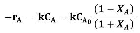 Expresión de la cinética de reacción del ejemplo 2 de un PFR