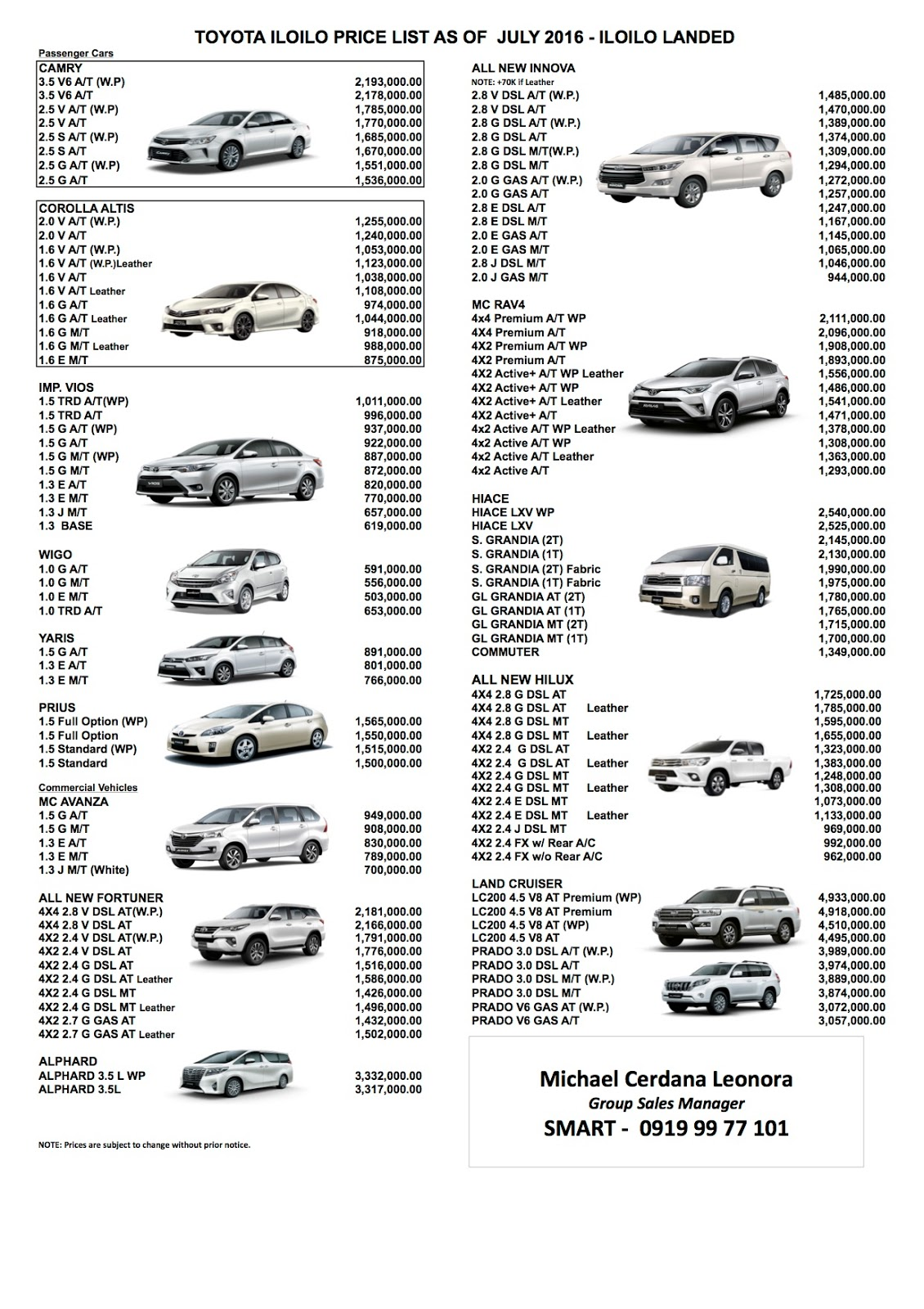 Toyota iloilo inc latest pricelist 09199977101