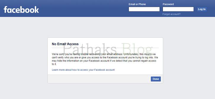 no facebook access, I forgot My Facebook Password