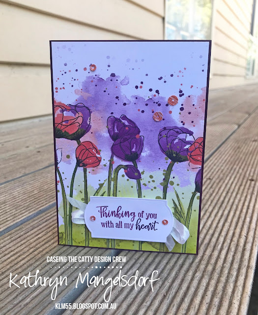 Stampin' Up! Peaceful Poppies Designer Series Paper, Mini Catalogue, CASED card by Kathryn Mangelsdorf