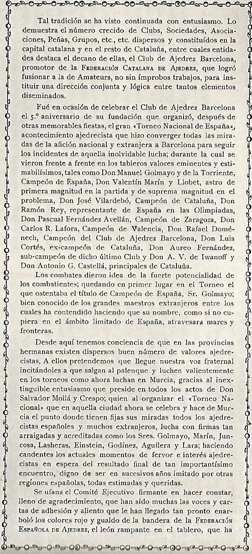 Manifiesto de la Federación Española de Ajedrez a los Ajedrecistas Españoles, abril de 1927, página 2