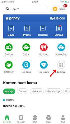 Pada Aplikasi Go-Jek Pilih Menu Lainnya untuk Bayar SPP Menggunakan Go-Pay