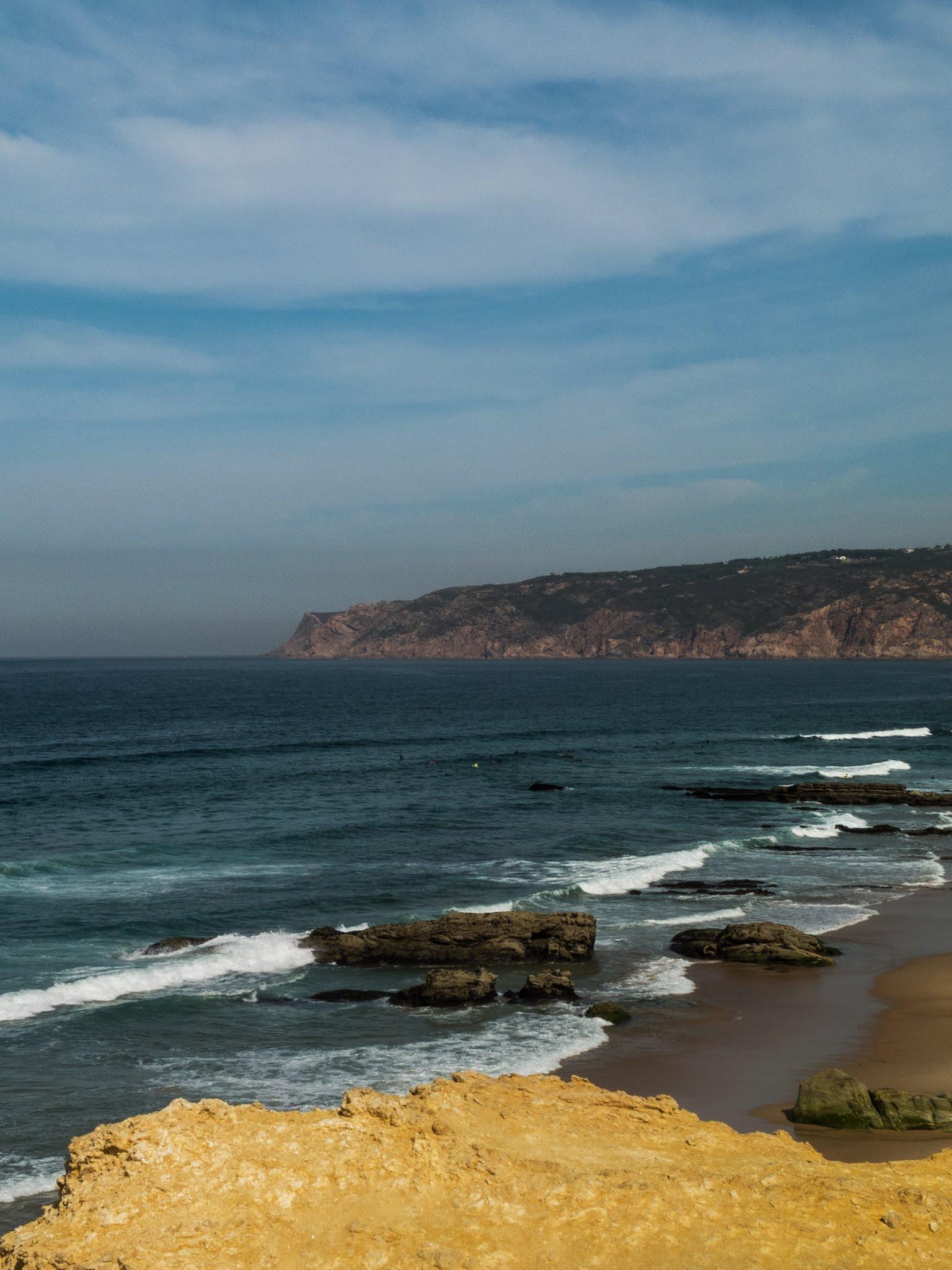 The Atlantic Coast of Praia da Guincho in Portugal.