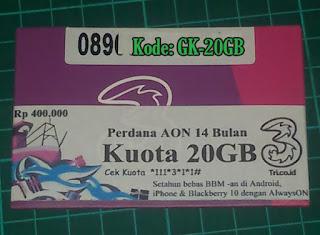 Perdana TRI AON 20 GB Reguler