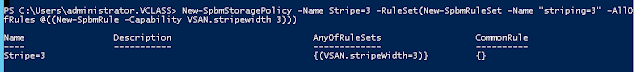 vSAN Policies with PowerCLI(Striping=3)