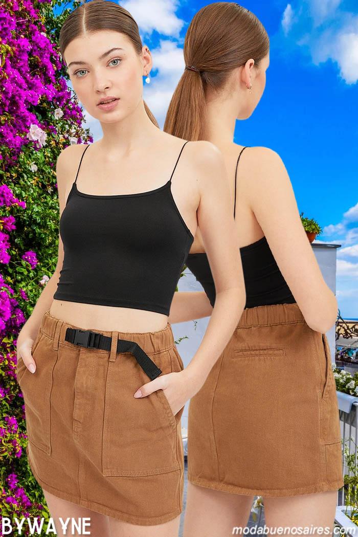 mini faldas y tops verano 2021 juvenil moda