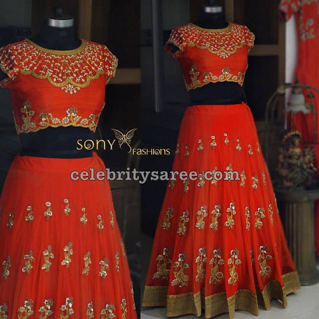 Latest Red Lehenga by Sony Reddy