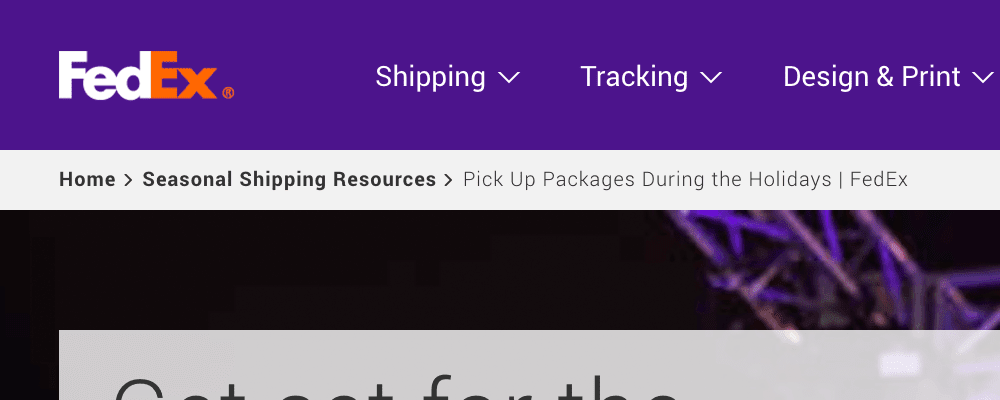 FedEx website breadcrumb navigation