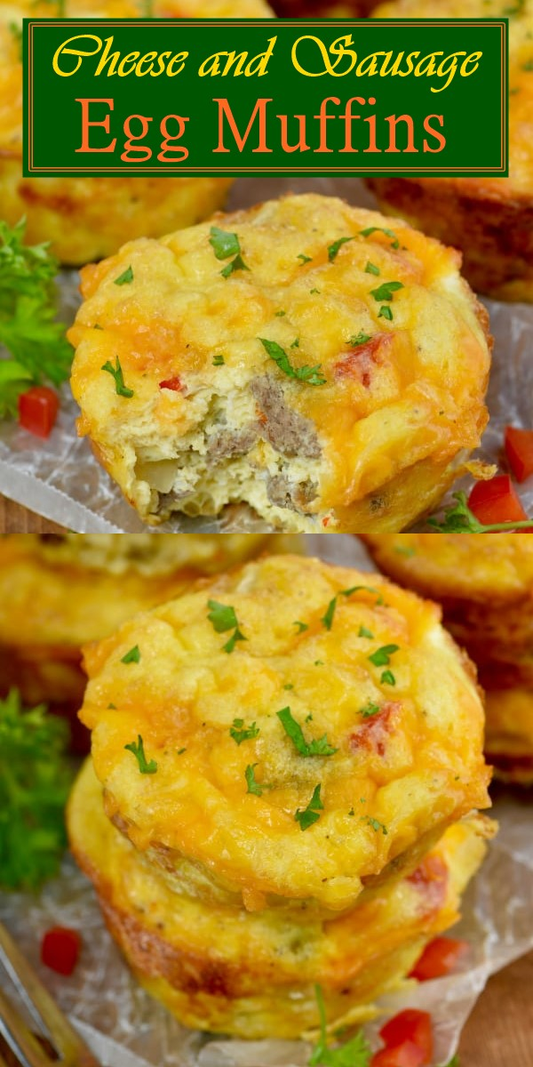 Cheese and Sausage Egg Muffins #breakfastideas