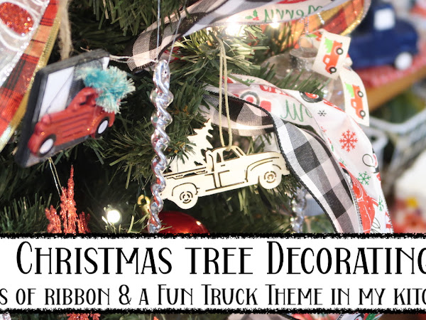 Decorating our kitchen Christmas tree - Red Vintage Truck Theme