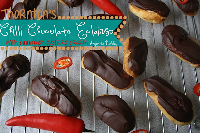 Thornton's Chili Chocolate Eclairs with Cinnmon Custard
