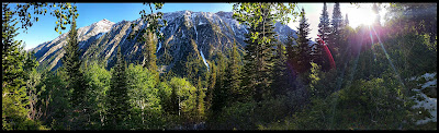 Panorama of the Mountains During Sunrise in Little Cottonwood Canyon
