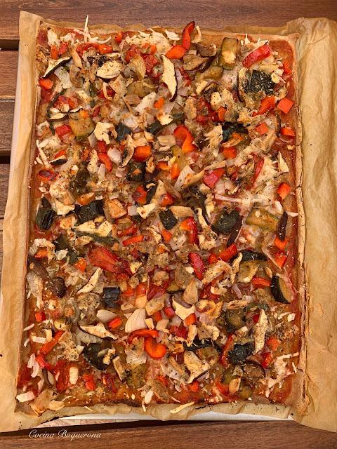 Pizza sin gluten (trigo sarraceno + teff + preparado comercial)