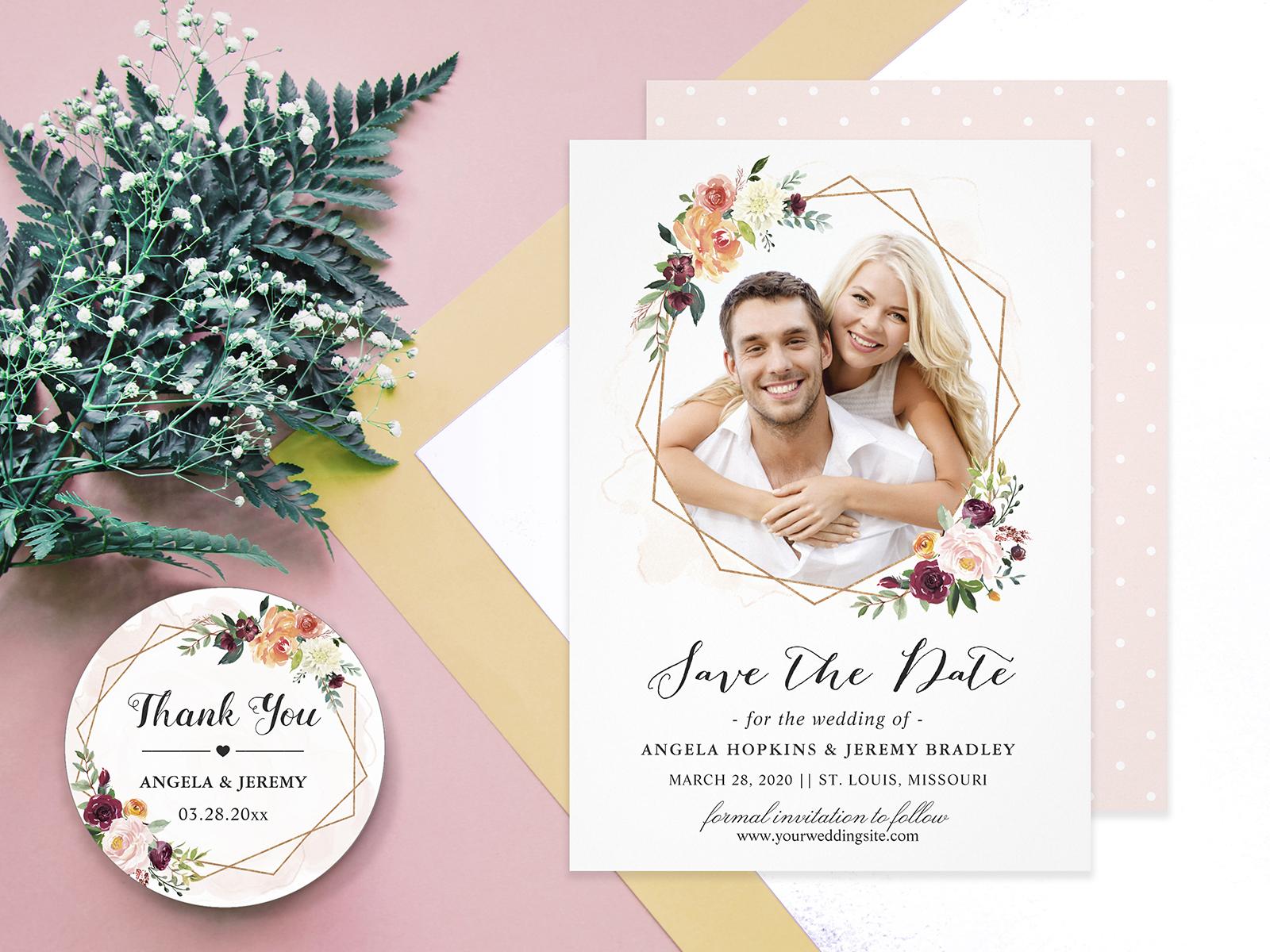 Modern Geometric Bloom Floral Wedding Invitation Suite