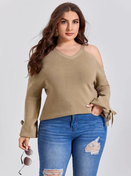 Khaki drop shoulder sweater