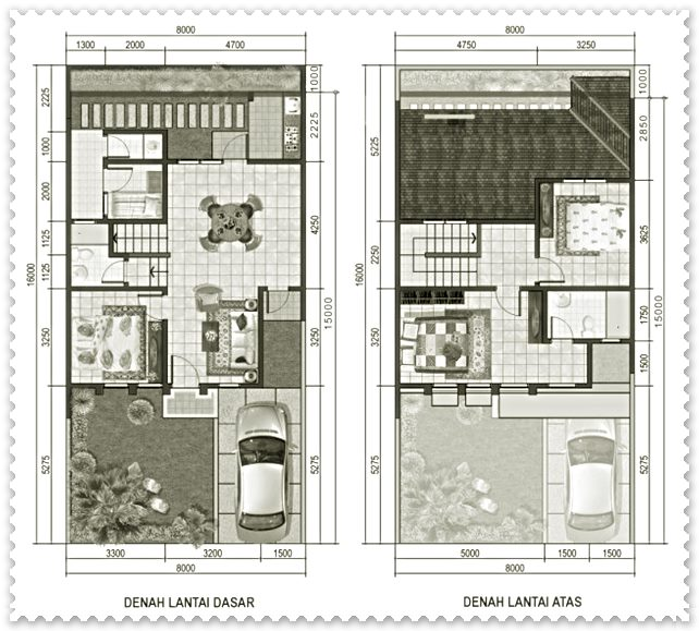 gambar sketsa rumah minimalis sederhana 2 lantai type 45