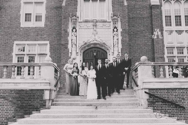 Bridal party on steps at Grosse Point Academy