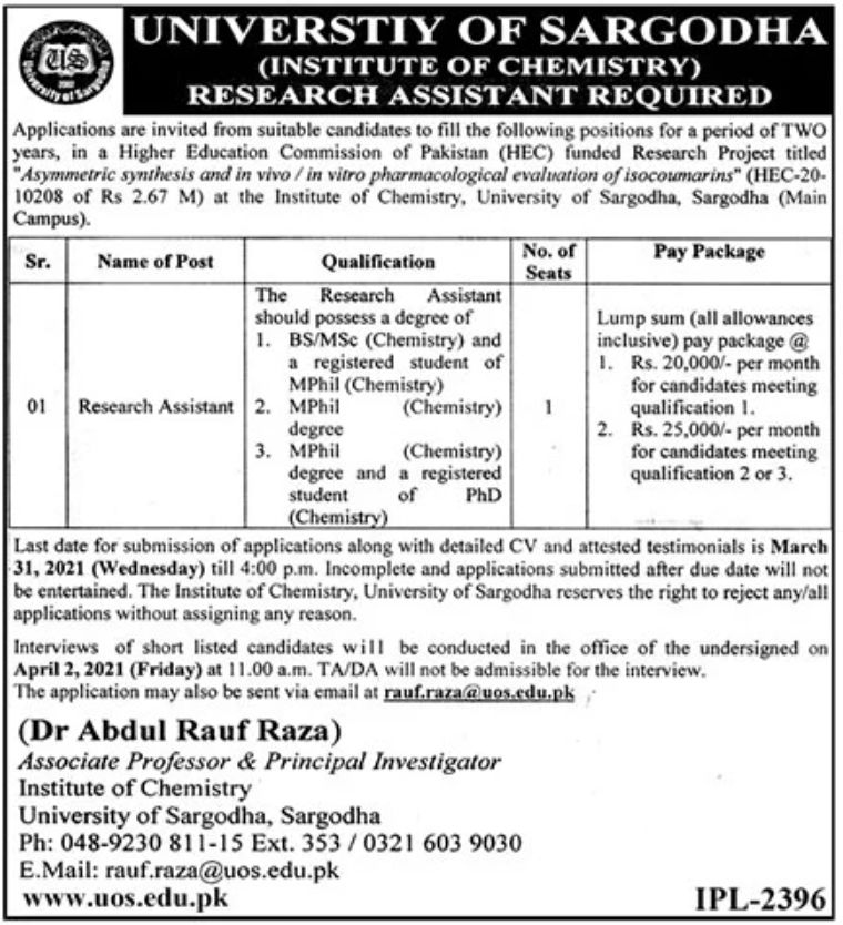 government,institute of chemistry university of sargodha,research assistant,latest jobs,last date,requirements,application form,how to apply, jobs 2021,