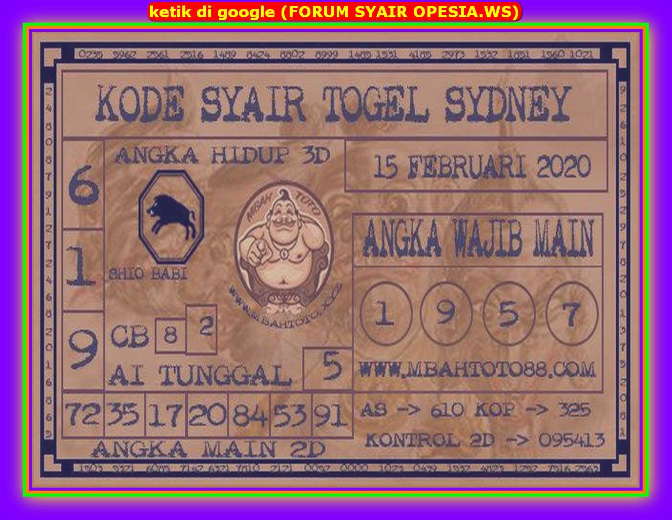 Kode syair Sydney Sabtu 15 Februari 2020 85