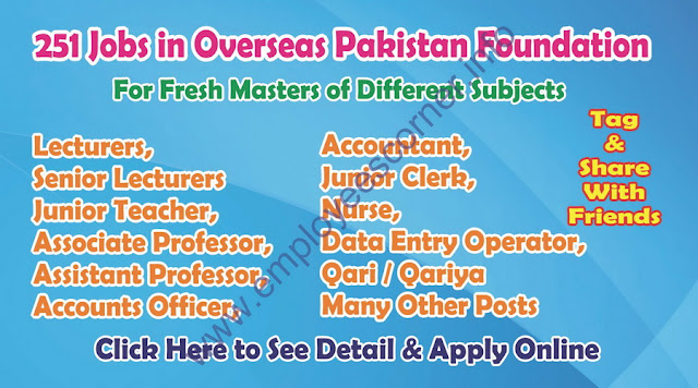 Government Jobs in Pakistan Overseas Pakistan foundation Jobs
