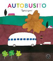 """La portada del libro, sale un autobús en un colorido paisaje y el título """"Autobusito"""" en letras de colores"""