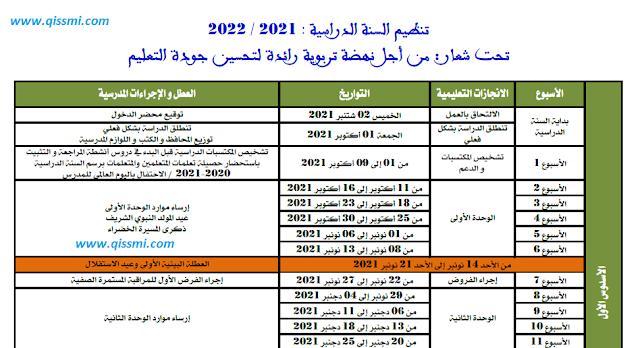 تنظيم السنة الدراسية 2021-2022 وفق المقرر الوزاري المعدل