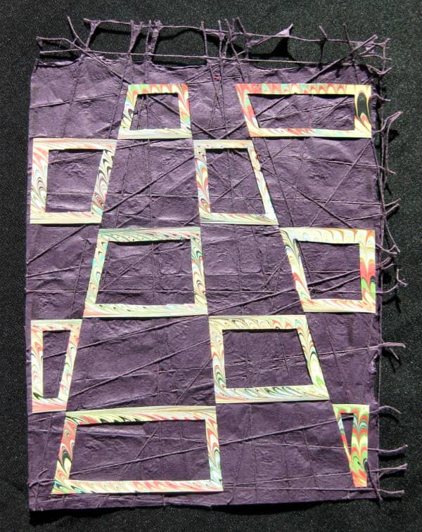 purple and patterned paper rectangular paper weaving