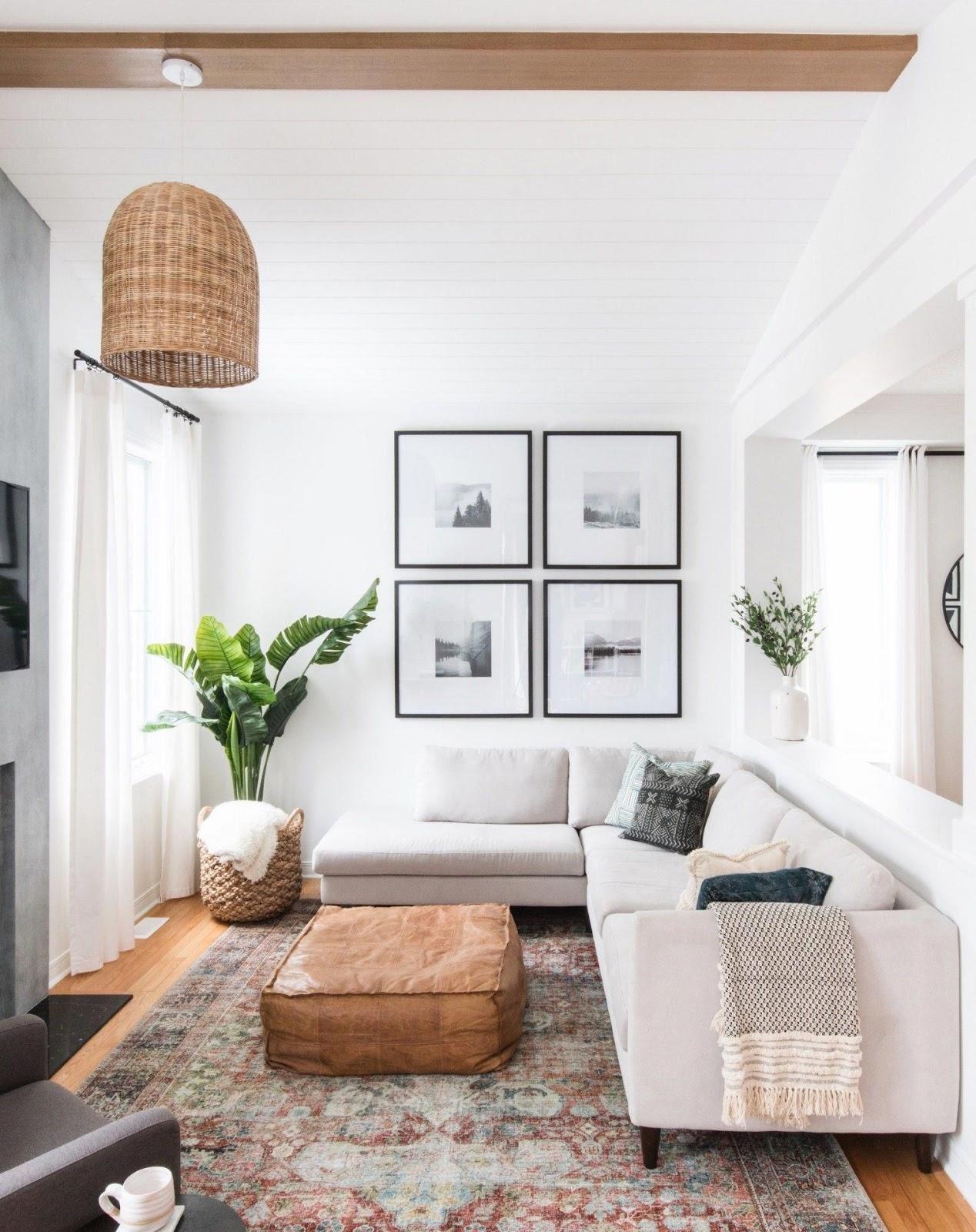 Trendy boho living room interior