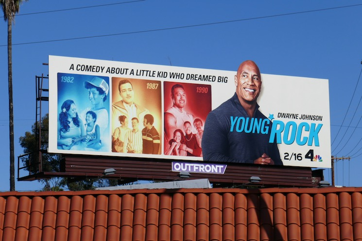 Young Rock series launch billboard
