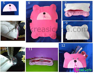 Tutorial 2 membuat dompet pensil teddy bear