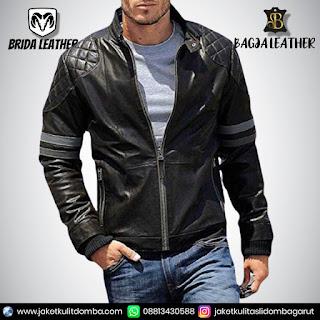 jaket kulit hoodie pria