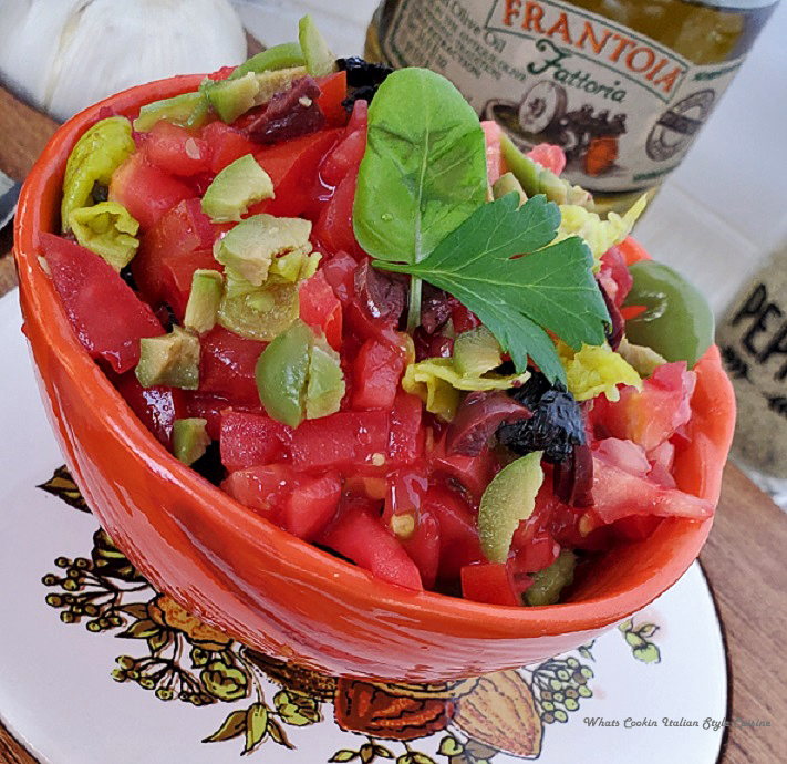 this is a bowl of mixed chopped vegetables made into an Italian salsa