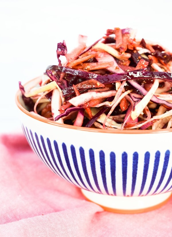 Close up of Easy Balsamic Beet Slaw