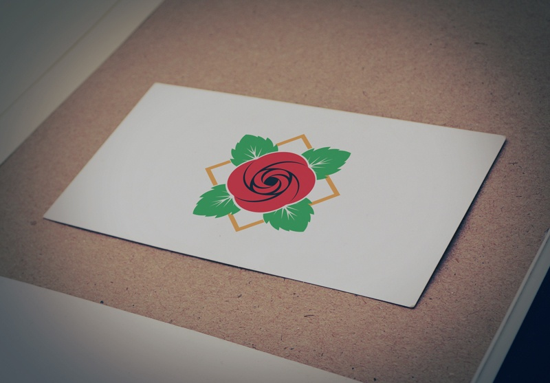 Download Free Red Flower with Leaves Logo for Business