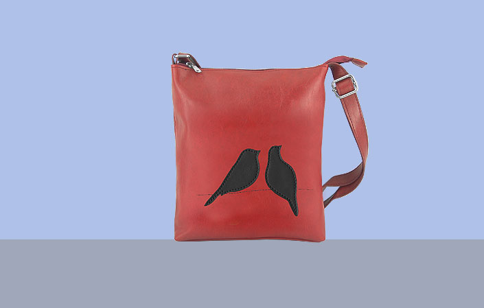 LAVISHY vegan leather bag with love birds applique
