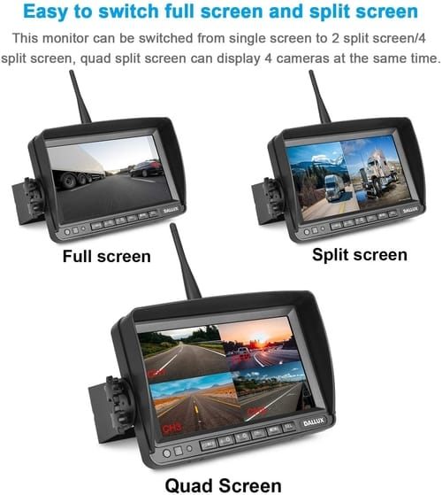 DALLUX Backup Camera Kit with 7 inch DVR Monitor