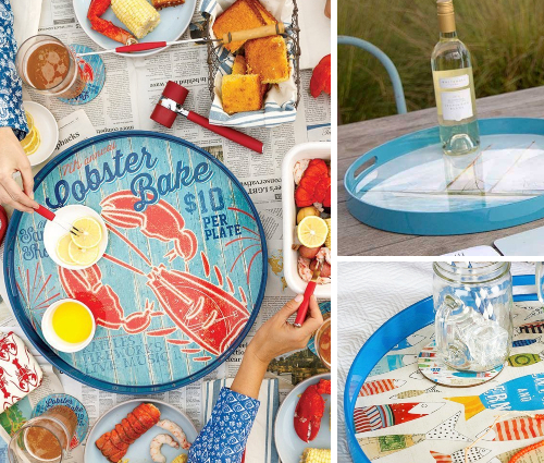 Round Nautical Art Serving Trays Cocktail Tray