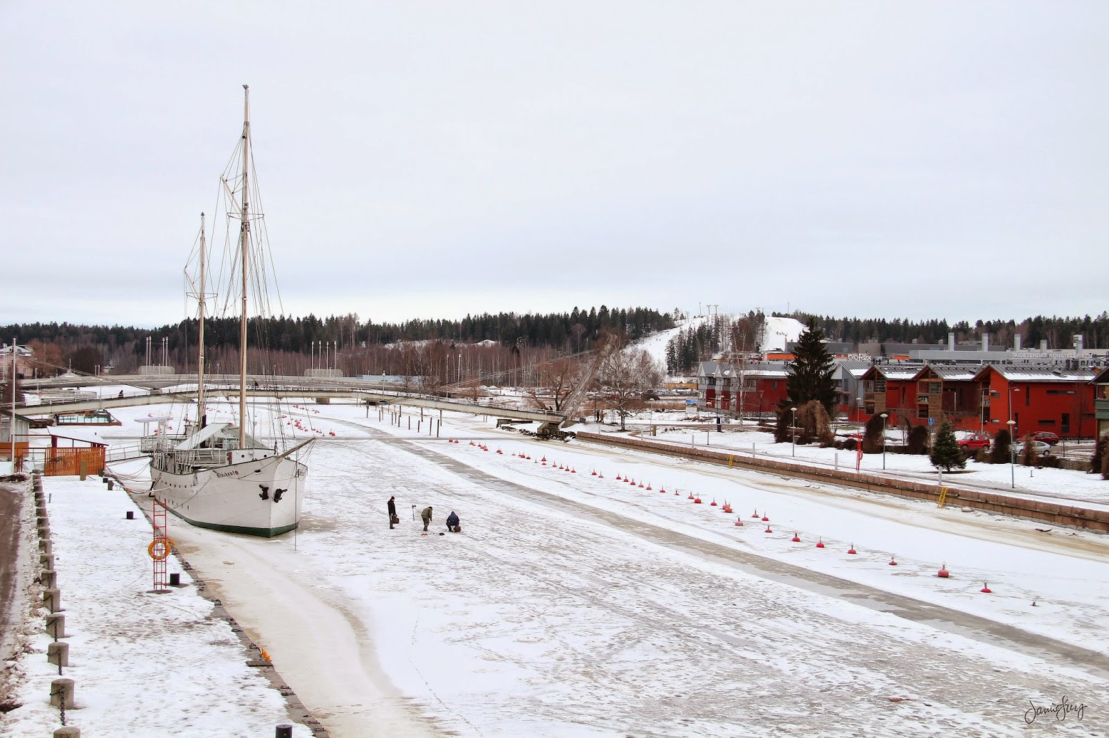 Winter Fishing at the Porvoo River, Finland