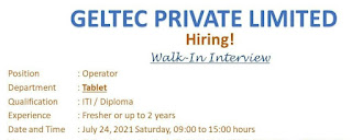 Geltec Private Limited Pharma Company Recruitment ITI and Diploma Fresher and Experienced Candidates | Walk In Interview
