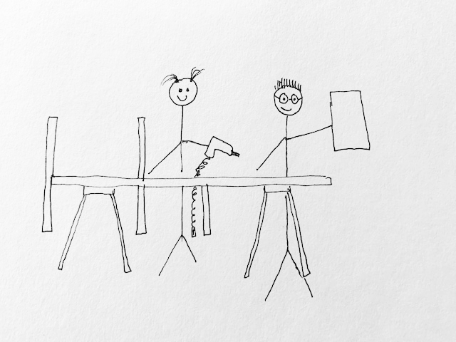 stick figure drawing of attaching wood dividers