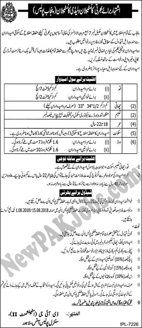 Punjab Police Constable, Lady Constable Jobs in Punjab Police August 2018,