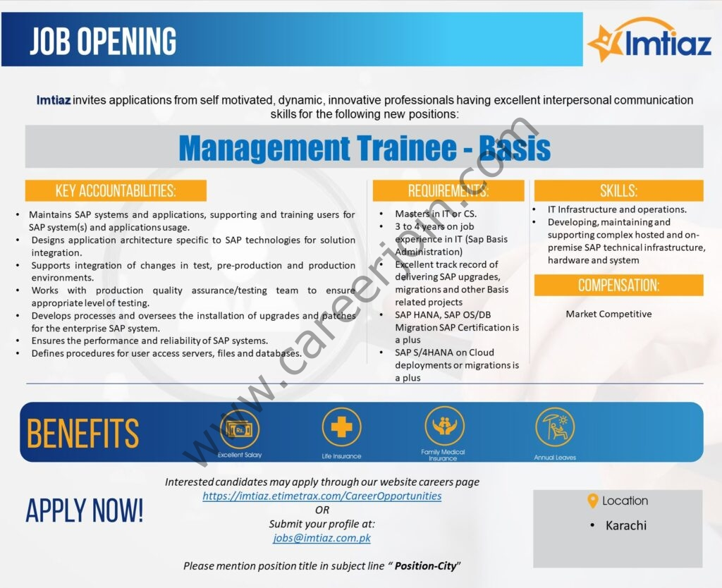 Latest Jobs in Imtiaz Super Market Jobs 2021 For Management Trainee SAP Basis - Apply via jobs@imtiaz.com.pk