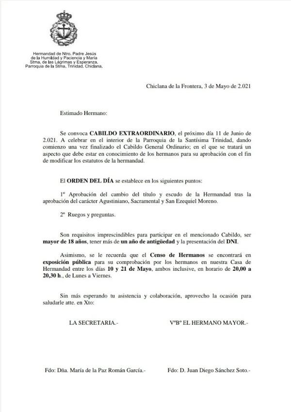 Humildad de Chiclana llevará a cabildo extraordinario el cambio del título y escudo de la Hermandad