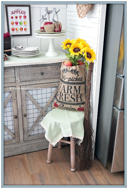 cottage farmhouse style fall decor-sunflower & apple-From My Front Porch To Yours