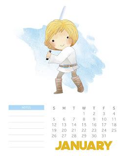 Star Wars: Calendario 2020 para Imprimir Gratis.