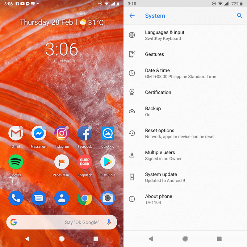 When comparing the banner image to these screenshots, it is clear that Android 9.0 Pie UI is different!