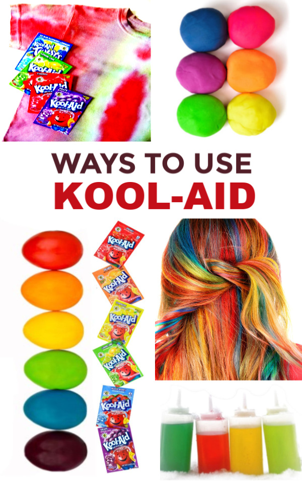 Fun & creative ways to use Kool-aid- crafts, recipes, cleaning hacks, hair dye, playdough, and more! #koolaid #koolaidcraftsforkids #koolaidcrafts #koolaidrecipes #koolaidactivities #koolaidexperiment #koolaidhacks #koolaidhairdye #koolaidplaydough #koolaidpickles #growingajeweledrose